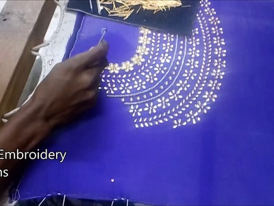 Simple maggam work blouse designs | designer blouse designs | hand embroidery designs for beginners