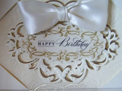 269.Cardmaking Project: Anna Griffin Ornate Ivory Happy Birthday Card