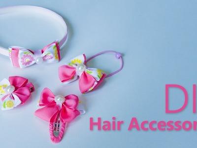 4 DIY Hair Accessories | Hair Tutorial with 4 DIY Quick Hairstyles for School | Hair styles