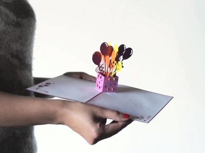 Balloon Bouquet Birthday Pop-up Card opening Lovepop