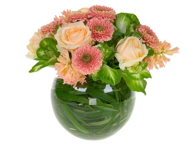 Bowl of Peaches, a beautiful spring floral centerpiece