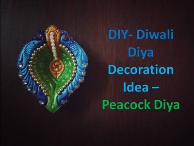 DIY- Diwali Diya Decoration Ideas   Peacock Diya   Kunal's Design 9
