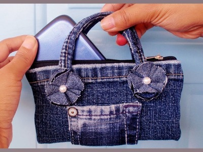 DIY Easy Mini Handbag Phone Case.Purse from Old Jeans(NO SEW)
