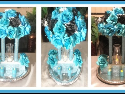 DIY Turquoise and Black GLAM FLORAL ARRANGEMENT. Wedding Centerpiece. Simply Easy #12