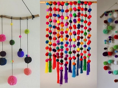 DIY Wall Hanging Crafts Ideas | DIY with Woolen Pom Pom Wall Hanging For Room Decor