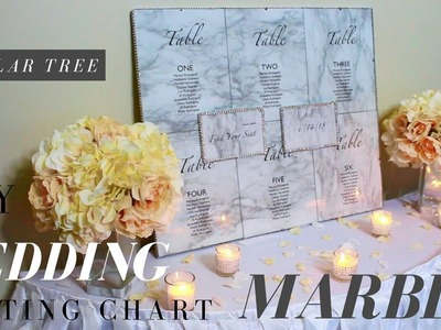 DOLLAR TREE MARBLE WEDDING SEATING CHART | MARBLE CONTACT PAPER DIY  | ELEGANCE FOR LESS THAN $20.