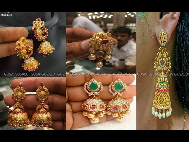 Gold Earrings Designs Catalogue Party Wear Jewellery Light Weight Earring