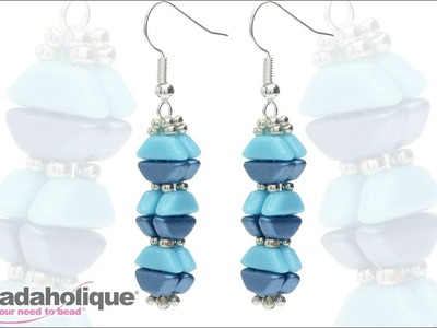 How to Bead Weave Geometric Earrings Featuring 2-Hole Tinos Par Puca Beads