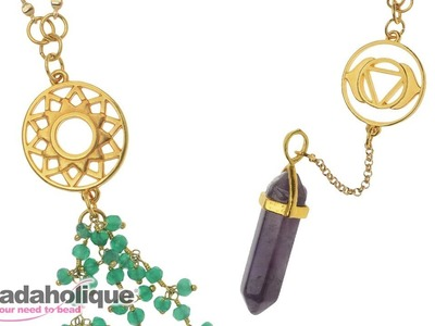 How to Make a Long Chakra Necklace with a Crystal Point Pendant