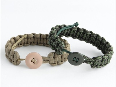 How to Make a Paracord Survival Bracelet with a Button Closure and a Sliding System-Cobra Weave
