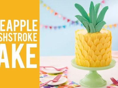How to Make a Pineapple Brush Stroke Cake