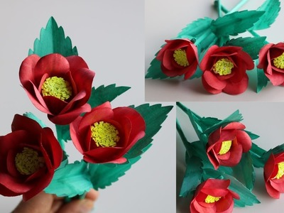 How to Make beautiful flowers with papers - DIY Handmade Paper Craft