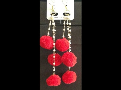 How to make Pom Pom dangle earrings I Using Pom Pom in traditional way