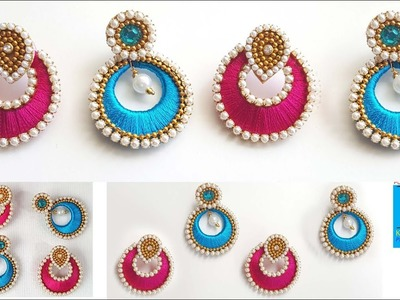 How to make simple designer chandbali jhumkas 2 colours at home