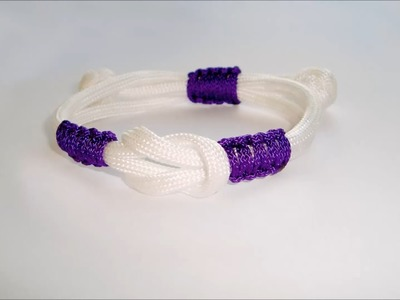 """How to make simple """"Infinity"""" Square knot adjustable paracord bracelet"""