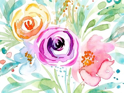 How to Paint Loose Watercolor Leaves the Easy Way for Florals. Sample Lesson