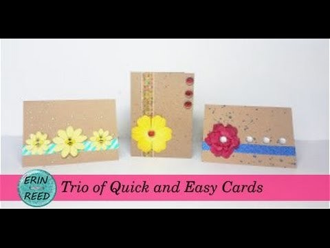 Trio of CAS Cards Easy to Mass Produce using Washi Tape, Flowers, Brads, and Bling