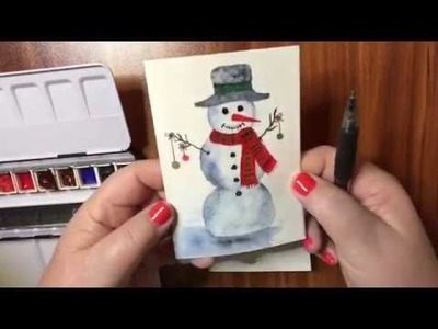 12 Days of Christmas Watercolor Cards #1 Snowman