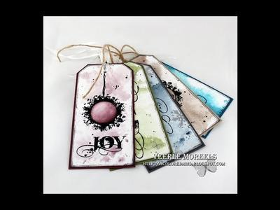 5 Christmas gift tags - one Visible Image stamp set