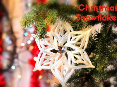 CHRISTMAS DECORATING IDEAS | HOW TO MAKE RIBBON SNOWFLAKES FOR CHRISTMAS TREE DECORATION