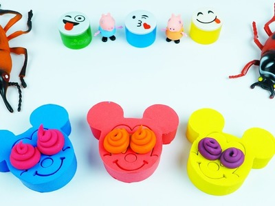 DIY Kinetic Sand Rainbow mickey mouse Wheels On The Bus Nursery rhymes songs Compilation