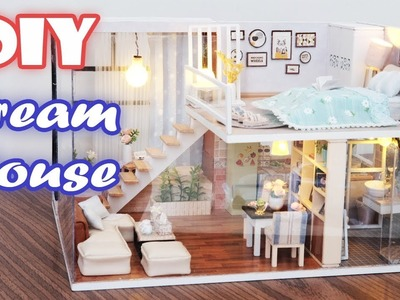 DIY Miniature Dollhouse Kit    Dream House ( with full furniture and light )