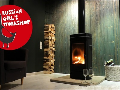 DIY Wood wall | Installation of fireplace | Design idea for living room