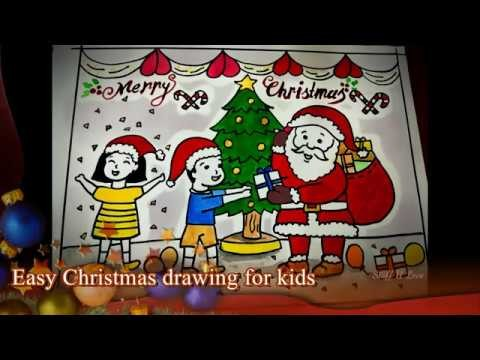 Easy Christmas Festival Drawing Kids Receiving Gifts From Santa