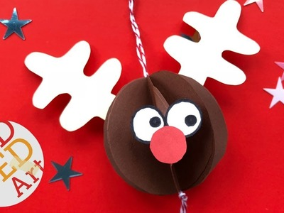 Easy Rudolph Ornament DIY (no printables) - Paper Crafts - DIY Christmas Ornaments from Paper