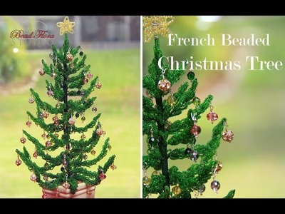 French beaded Christmas tree - pattern and tutorial by Bead Flora Studio