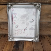 handcrafted silver effect ornate framed butterfly/bird/hearts picture