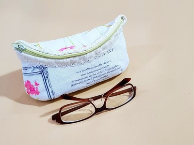 How to make a glasses pouch with zipper ~Step by Step DIY TUTORIAL????????