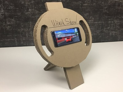 HOW TO MAKE GAMING STEERING WHEEL from Cardboard For Smartphone DIY