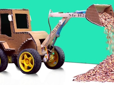 How To Make RC Wheel  Loader From Cardboard and Pepsi can - Diy Simple Construction Toy For Kids