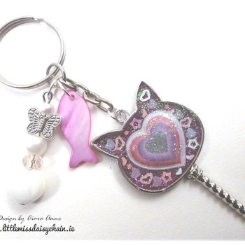 LoveCat Resin Sceptre Charm Key-ring