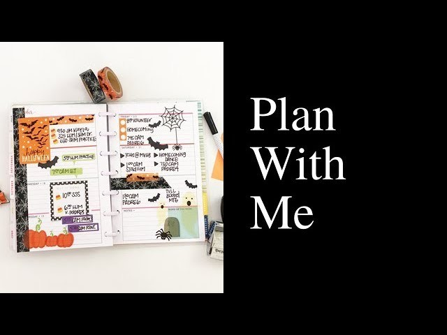 Plan With Me: October 16-22, 2017 [mini Create 365 Happy Planner Halloween stickers how to]