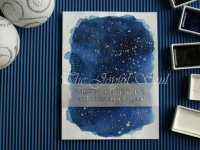 Watercolor Night Sky Christmas Card with Gansai Tambi paints and Lawn Fawn stamps
