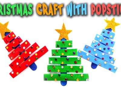 Christmas Craft With Popsticks - How to Make a Christmas Tree with Popsicle Sticks - Creative Idea