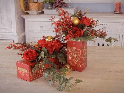 Christmas Holiday Floristry Arrangement using a Recycled Champagne Box