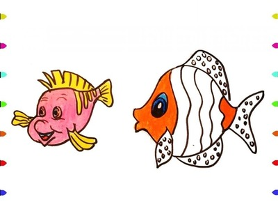 Coloring Pages Colorful Clown Fish | How to draw Animals | Drawing and Art Colors for Kids