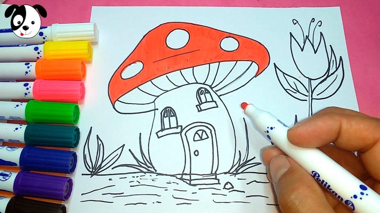 Cómo Dibujar Y Colorear Casa De Hongo Paso A Pasobaby Book Coloring