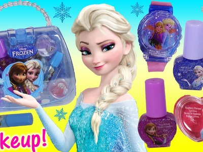 Disney Princess FROZEN Cosmetic PURSE! Anna ELSA Olaf Lip Gloss WATCH Nail Polish! Makeup!