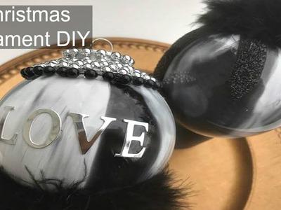 DIY   Black and White Christmas Decorations   Fur Glam Christmas Ornaments