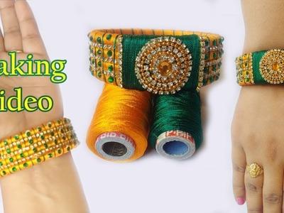 DIY-How to make designer green diamond silk thread bangles | Yellow and Green  silk thread bangles