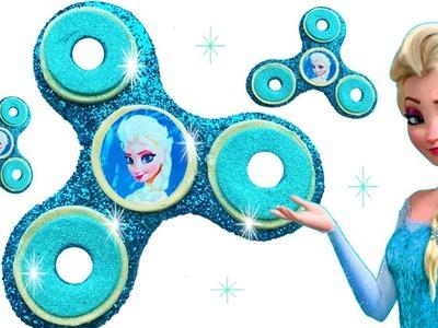 DIY How to Make Giant Fidget Spinner Glitter Play Doh Disney Princess Frozen Elsa Learn Colors