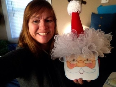 Here is another way to make the Dollar Tree Sant Hat Topper for Santa box