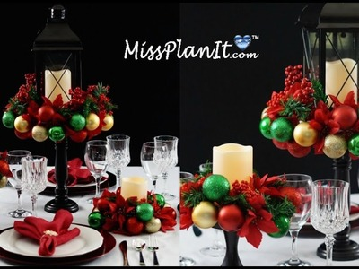 Holiday Ornament  Table Centerpiece Under $50!. DIY. How to Create this Holiday Table Centerpiece