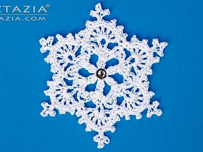 How to Crochet a Snowflake Ornament - DIY Tutorial - Winter Christmas Holiday Tree