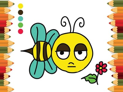 How to Draw Bee and coloring for Kids