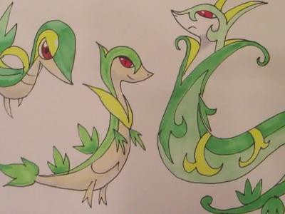 How to draw Pokemon: No.495 Snivy, No.496 Servine, No.497 Serperior